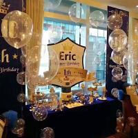宝宝满月宴婚庆婚房布置 透明圆形波波球气球 周岁百日生日装饰 圆形纸屑