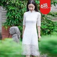 魅儿旗袍长款2018新款春夏复古改良日常中袖显瘦修身连衣裙蕾丝旗袍女GH12401 白色