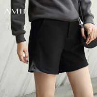 【双十一特价福利款】AMII[极简主义]女冬新宽松撞色绣花拼接大码休闲短裤