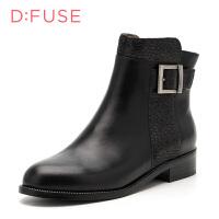 迪芙斯D:FUSE牛皮尖头低跟套脚金属深口女鞋DF64117224