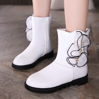 女童靴子2017新款女童皮靴春秋短靴侧拉链中筒公主靴冬