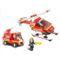 小鲁班拼插积木消防队直升飞机积木消防车 儿童益智玩具