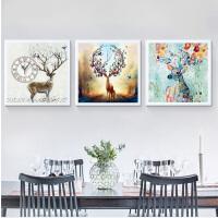 客厅装饰画沙发背景墙壁画现代北欧餐厅卧室三联挂画麋鹿带钟表SN9990 80*80 三幅