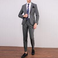 黑色西装男套装修身韩版英伦商务职业正装帅气男士小西服休闲外套
