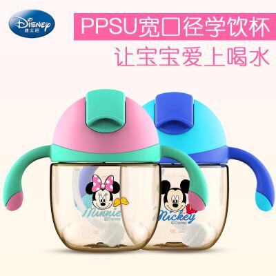 迪士尼婴幼儿奇趣滑盖学饮杯PPSU防漏防呛手柄吸管杯