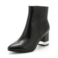 星期六尖头高跟粗跟简约短靴女靴子SS74116497