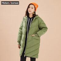 美特斯邦威羽绒服女冬装军绿色黑色中长款茧型外套学生bf风潮