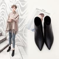 短靴秋冬新款皮面尖头粗跟中跟短靴女磨砂高跟马丁靴裸靴细跟女靴