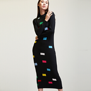 韩版长裙半高领连衣裙欢乐颂2曲筱绡同款彩色方块针织长款毛衣裙