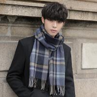 新款纯羊毛围巾男士秋冬季高档韩版围巾男围脖百搭简约格子礼盒装
