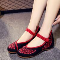 老北京布鞋中式结婚鞋秀禾服绣花鞋女新娘鞋坡跟民族风广场舞单鞋
