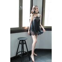 新款女性情趣睡衣性感吊带透明制服诱惑蕾丝少女内衣花边女冬睡裙 黑色 均码