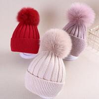 儿童帽子秋冬毛球男童女童毛线针织帽宝宝保暖