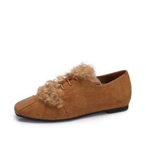 camel/骆驼女鞋  秋冬新品时尚羊羔们饰系带低帮鞋休闲方头平底单鞋