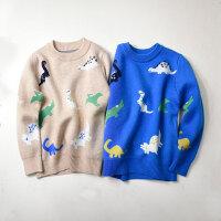 童装儿童宝宝恐龙提花毛衣圆领线衫