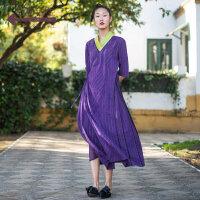 生活在左2019春夏季新品女装复古连衣裙拼蚕桑丝中长款裙子女