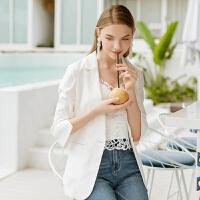 Lagogo/拉谷谷2019年夏季新款时尚修身短款西装外套IAWW334A51