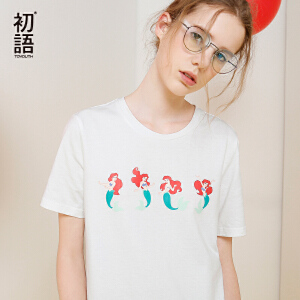 初语夏季新款迪士尼公主印花短袖T恤女纯棉宽松大码打底衫上衣