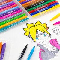 英雄小双头油性记号笔擦不掉彩色马克笔儿童绘画勾线笔细头标记笔
