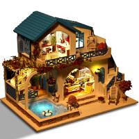 那家diy小屋蓝白小镇手工创意房子拼装玩具模型别墅男女生日礼物