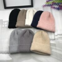 女帽暖秋冬羊毛绒弹力毛线帽韩版柔软简约保暖尖尖帽女生针织冷帽