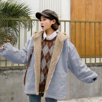 冬装2018新款韩版学生羊羔毛绒宽松bf加厚连帽工装棉衣外套女