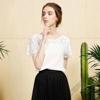 夏装雪纺上衣韩版蕾丝时尚甜美短袖雪纺衫女潮 白色