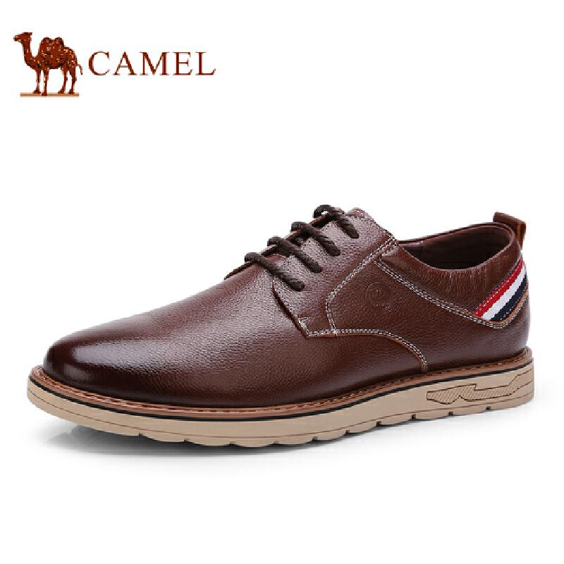 骆驼牌 男鞋 新品时尚百搭休闲男皮鞋简约系带低帮男鞋