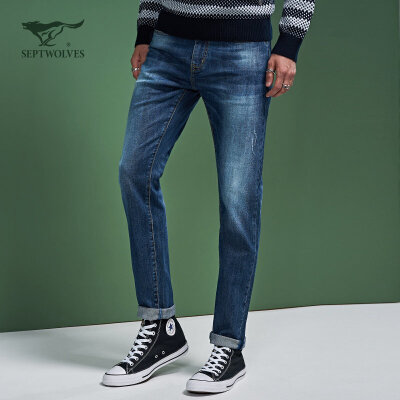 七匹狼旗下圣沃斯系列 秋季新款修身小脚牛仔裤12.13-12.20满199-60/399-150/799-300