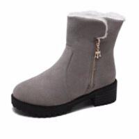 2019新款冬季加厚雪地靴棉鞋短靴女鞋平底中跟中筒靴马丁靴女靴子