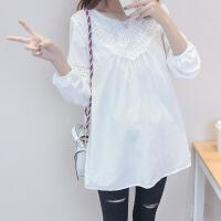 孕妇装春秋装新款长袖T恤中长款白色蕾丝上衣OL职业妈妈装打底衣 白色(纯棉) X