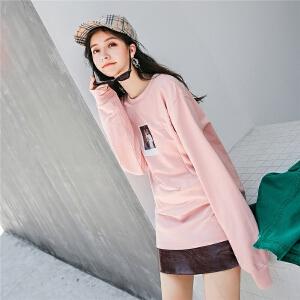 卫衣新款女秋季绣花胶印中长款韩版圆领宽松百搭粉色长袖上衣
