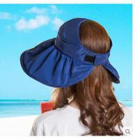 女士帽子遮阳帽防紫外线大沿沙滩太阳帽防晒可折叠凉帽女