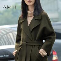 【1件7折/2件5折】AMII[极简主义]冬装新品中长款纯色羊毛呢外套双面呢子大衣女