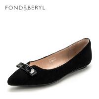 菲伯丽尔(Fondberyl)2018年春季专柜新品绒面羊皮革平跟单鞋FB81111080