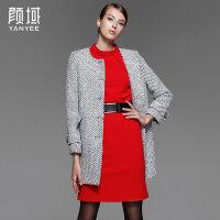 颜域品牌女装2017秋冬新款气质优雅呢子大衣小香名媛风羊毛外套