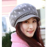 韩版时尚针织毛线帽兔毛帽 保暖大码鸭舌贝雷帽画家护耳帽