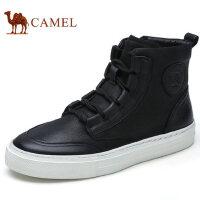 camel 骆驼男鞋秋冬新品日常休闲真皮拉链高帮鞋潮流男靴子