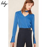 【超品一口价:186元】 Lily春新款女装V领挂脖上衣打底衫套头雪纺衫119100C8260