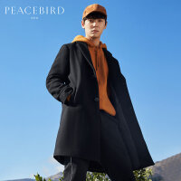 太平鸟男装 冬新款翻领呢大衣男时尚韩版中长款外套个性羊毛大衣