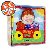 Baby's Day 英文原版 儿童玩具布书触摸书 卡伦卡茨 Karen Katz 宝宝的一天 0-3岁亲子互动游戏书