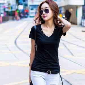 2017夏装上衣t恤韩版修身V领打底衫纯棉短袖T恤女纯色体恤ZY3837