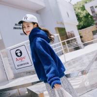 毛绒绒卫衣女2018冬季新款韩版超火宽松bf连帽百搭套头毛茸茸外套 蓝色