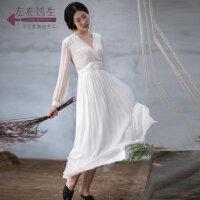 生活在左2018秋季新款绣花桑蚕丝真丝连衣裙女装修身中长款长裙子