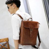 男生书包大学生高中生男包双肩包旅游包时尚潮流男士背包大容量韩版学生书包 咖啡色
