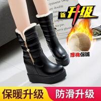 现货 冬季学生雪地靴女中筒靴新款韩版加厚保暖女靴子内增高棉靴