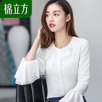 小清新雪纺衬衫女长袖棉立方2018新款秋装文艺喇叭袖显瘦白色衬衣