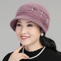 毛线帽子女秋冬天兔毛针织帽老人帽子女冬季毛线中老年妈妈保暖帽