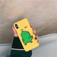 卡通小恐龙趣味SMAX手机壳iphone7p/8plus磨砂硬6sp半包批发 苹果X/XS-5.8寸黄底 Hi恐龙