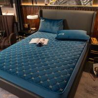 加厚保暖水晶绒床笠防滑夹棉乳胶床垫套席梦思保护套单件床罩防尘